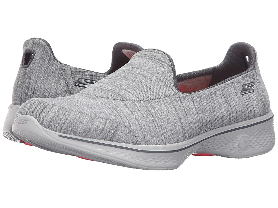 SKECHERS Performance - Go Walk 4 - Satisfy (Gray) Women's Slip on Shoes