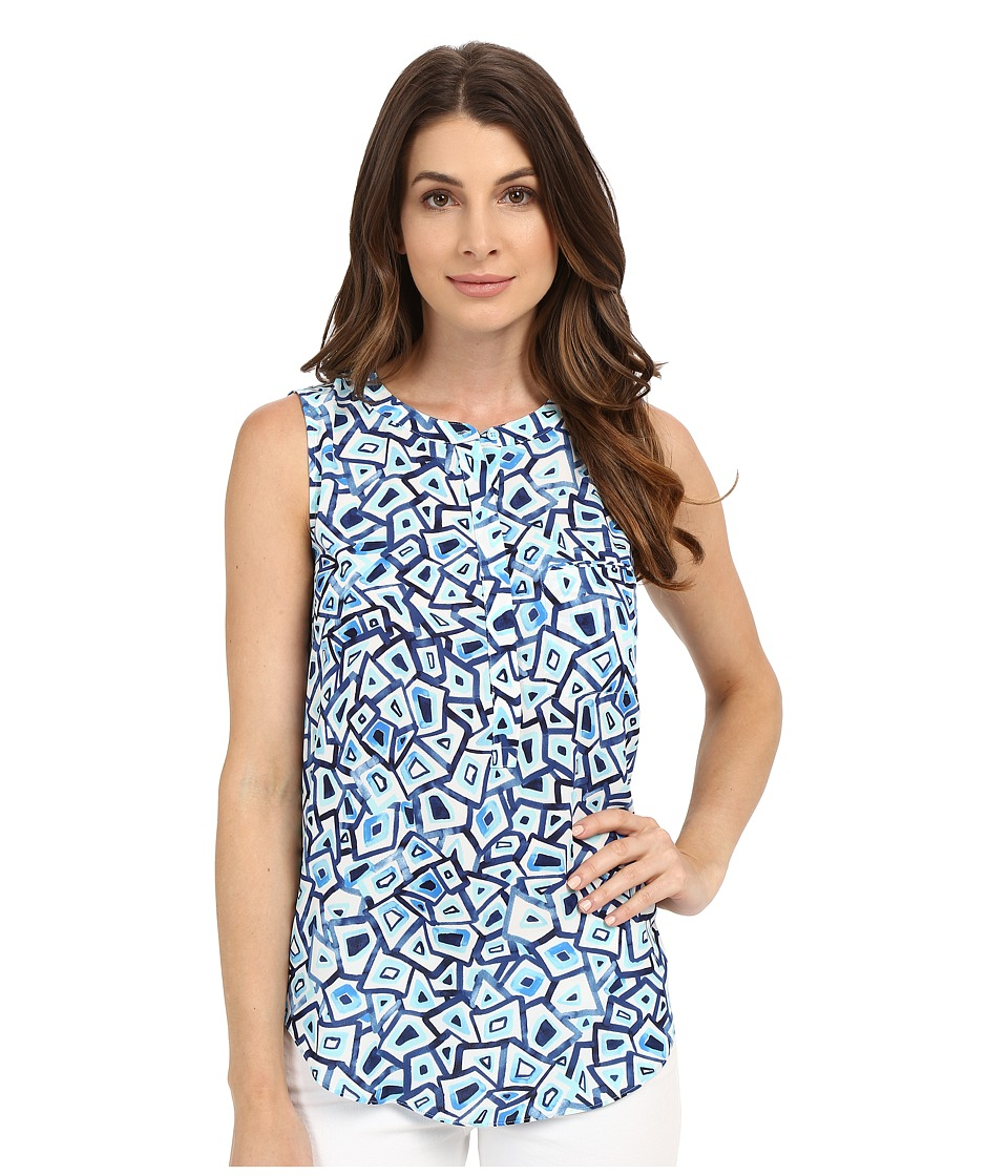 NYDJ - Sleeveless Georgette Blouse w/ Pleated Back (Turtle Bay Aqua Salt) Women's Sleeveless