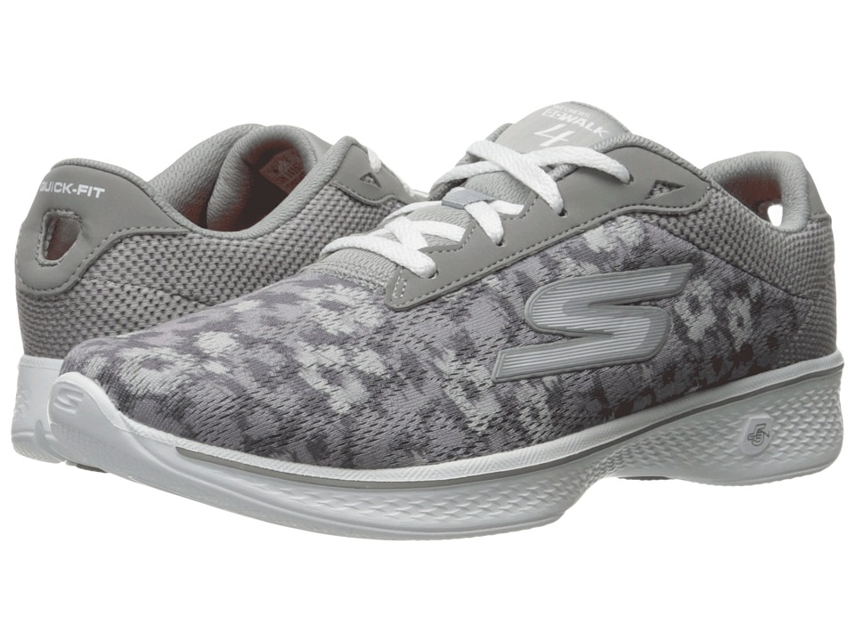 SKECHERS Performance - Go Walk 4 - Excite (Gray) Women's Lace up casual Shoes
