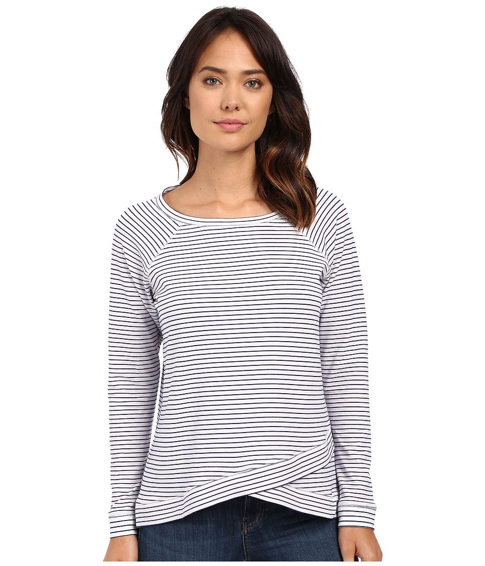 NYDJ - Stripe French Terry Sweatshirt (Optic White) Women's Sweatshirt