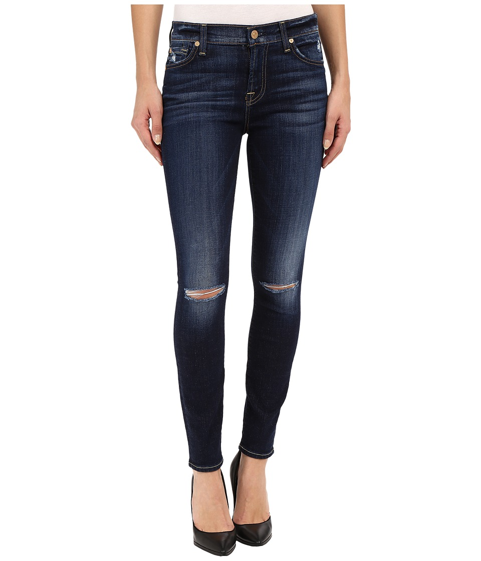 7 For All Mankind - The Ankle Skinny with Knee Holes in Mykonos Dark Indigo 3 (Mykonos Dark Indigo 3) Women's Jeans