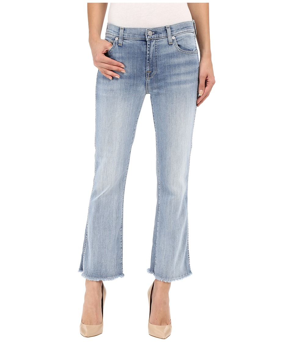 7 For All Mankind - Cropped Boot with Raw Hem in Santorini Light Aqua (Santorini Light Aqua) Women's Jeans