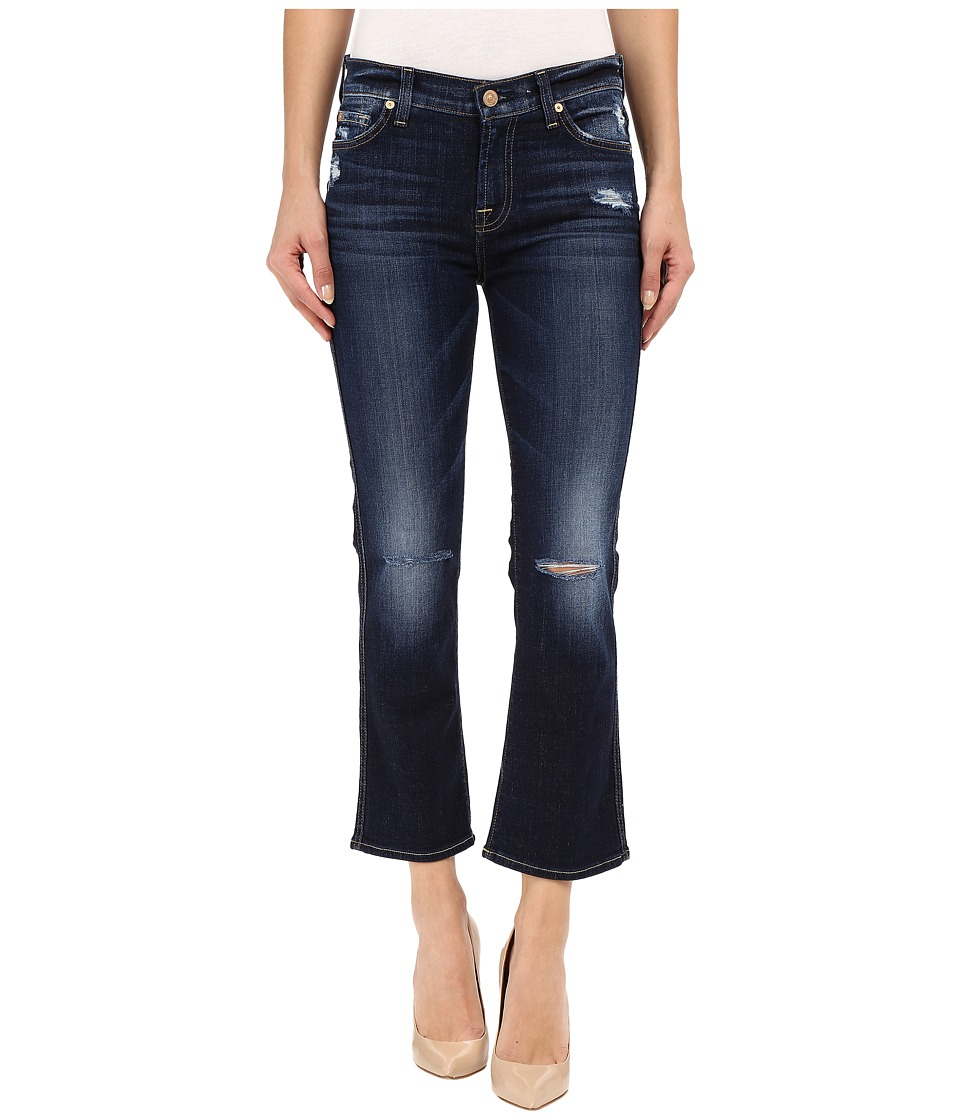7 For All Mankind - Cropped Boot with Holes in Mykonos Dark Indigo 2 (Mykonos Dark Indigo 2) Women's Jeans