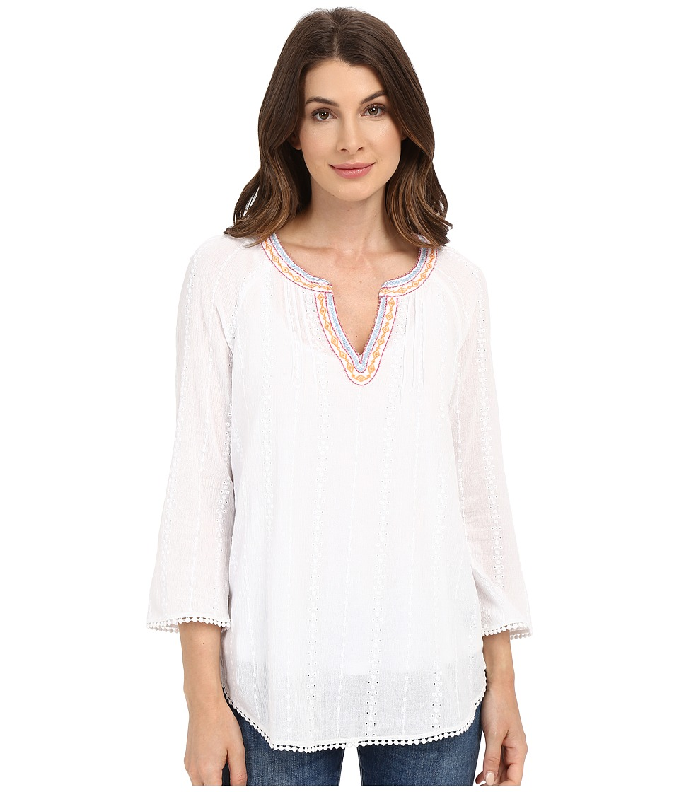 NYDJ - Embellished Gauze Blouse (Optic White) Women's Blouse