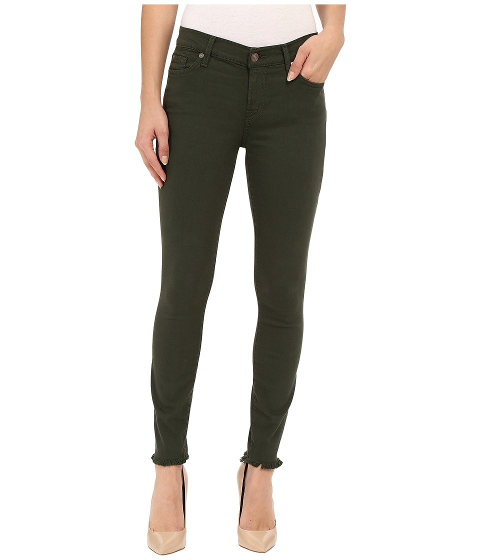 7 For All Mankind - The Ankle Skinny with Raw Hem in Olive (Olive) Women's Jeans