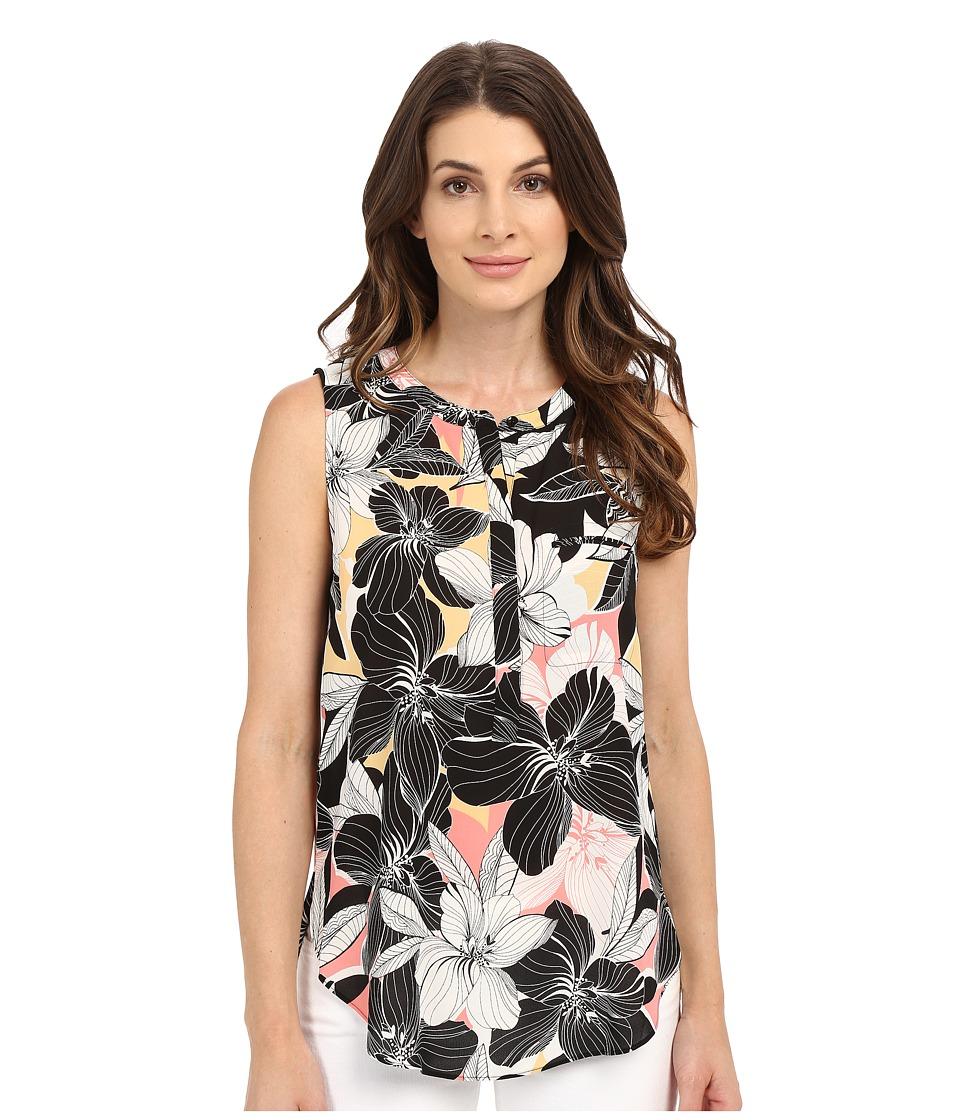 NYDJ - Sleeveless Georgette Blouse w/ Pleated Back (Floral Mirage Pink Lemonade) Women's Sleeveless