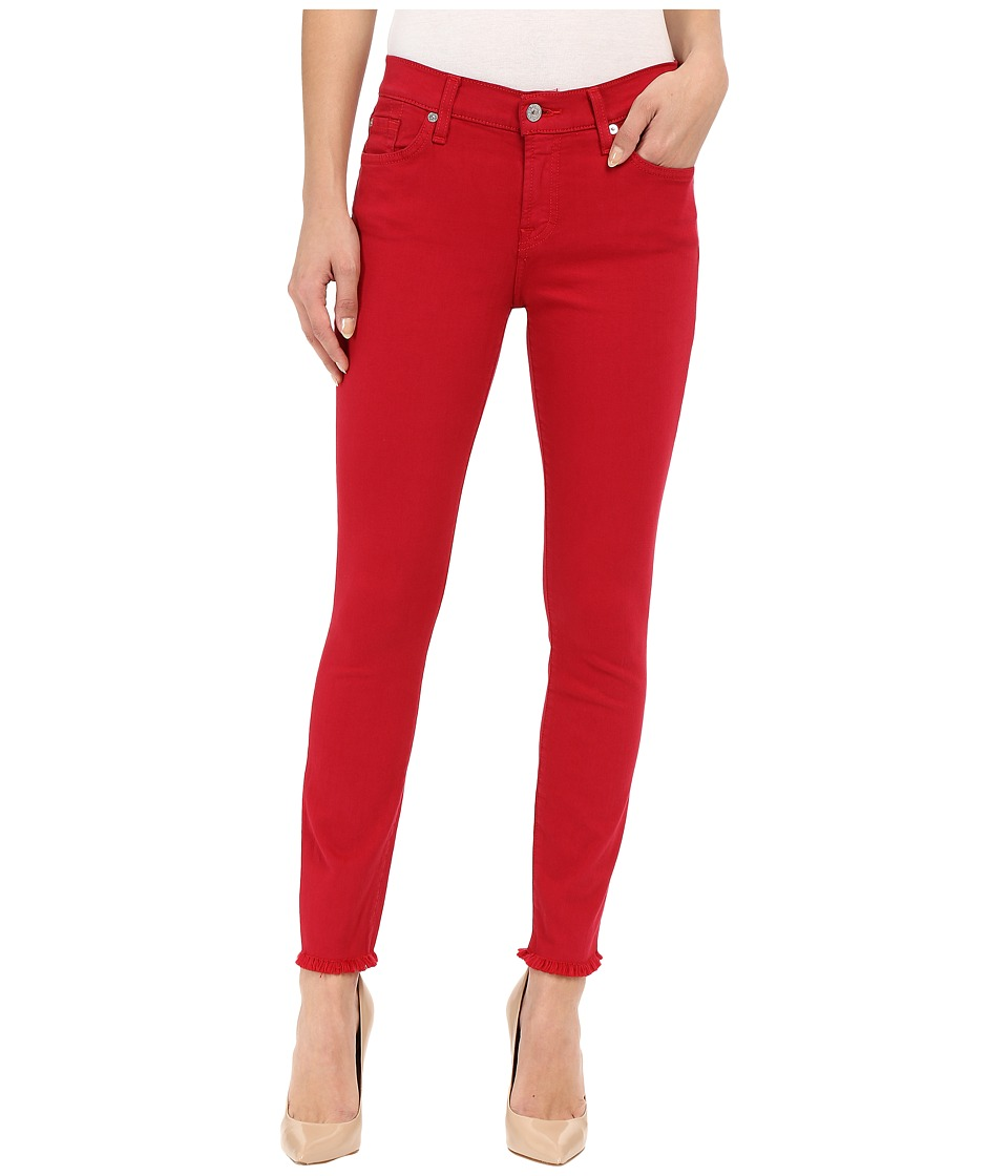 7 For All Mankind - The Ankle Skinny with Raw Hem in Fuchsia Rose (Fuchsia Rose) Women's Jeans