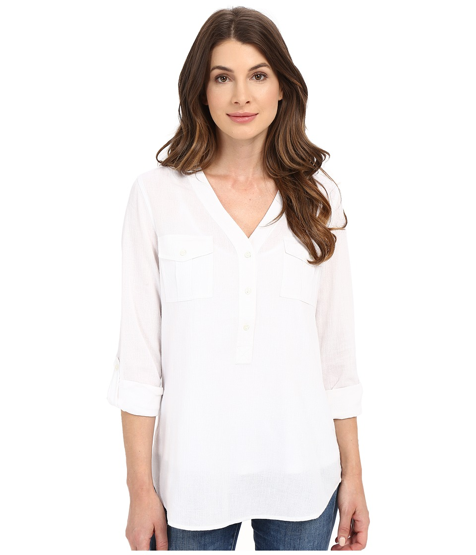 NYDJ - Outback Linen Pop-Over (Optic White) Women's Clothing
