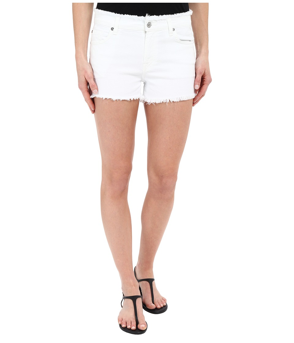 7 For All Mankind - Raw Edge WB Cut Off Shorts with Destroy in White (White) Women's Shorts