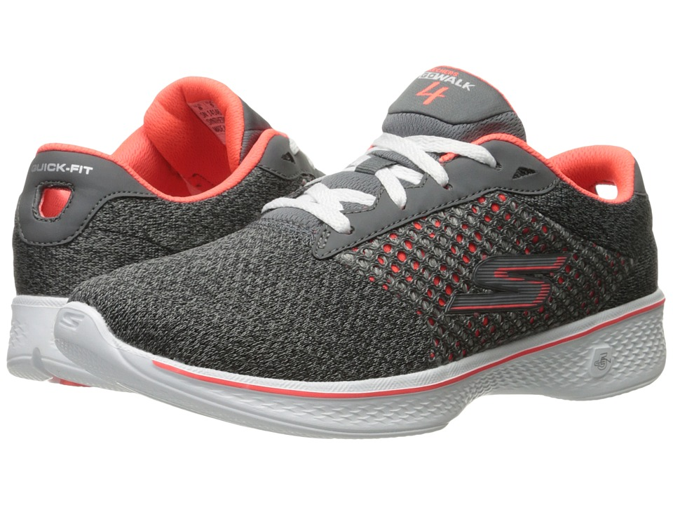 SKECHERS Performance - Go Walk 4 - Exceed (Charcoal/Coral) Women's Lace up casual Shoes