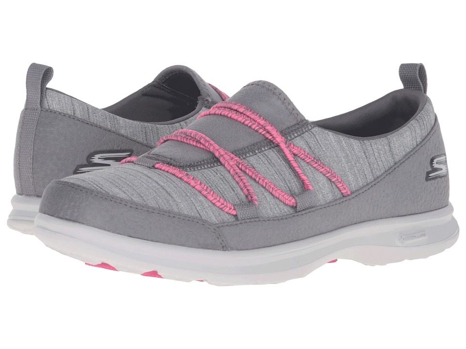 SKECHERS Performance - Go Step - Sway (Gray/Pink) Women's Lace up casual Shoes