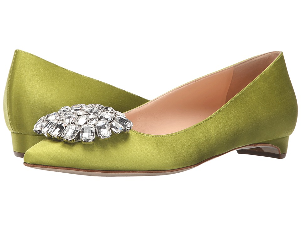 Rupert Sanderson - Jewel Bedfa (Eden Satin/Clear Pebble) Women's Flat Shoes