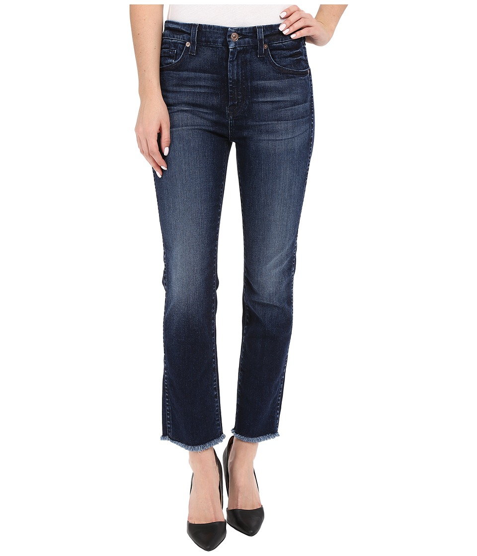 7 For All Mankind - High Waist Ankle Straight with Raw Hem in Acropolis Deep Sky (Acropolis Deep Sky) Women's Jeans