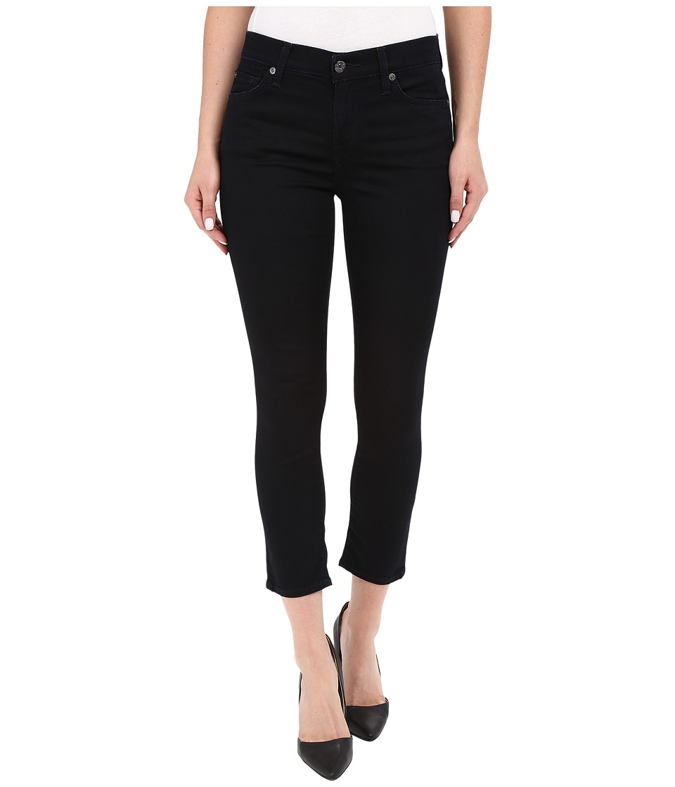 7 For All Mankind - The Capris with Tonal Squiggle in Featherweight Blackest Blue (Featherweight Blackest Blue) Women's Jeans