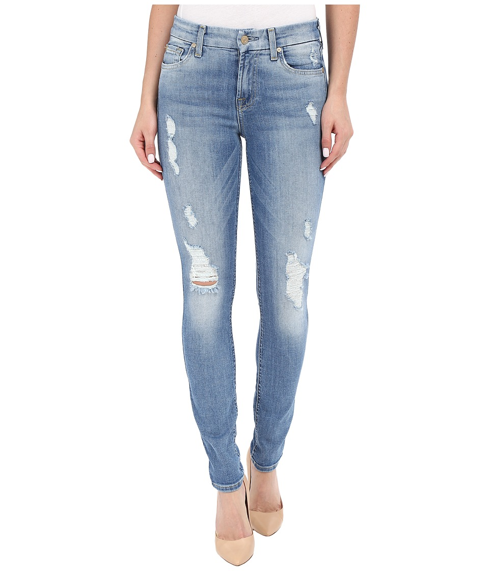 7 For All Mankind - The Skinny with Contrast Squiggle and Destroy in Aegean Sea 2 (Aegean Sea 2) Women's Jeans
