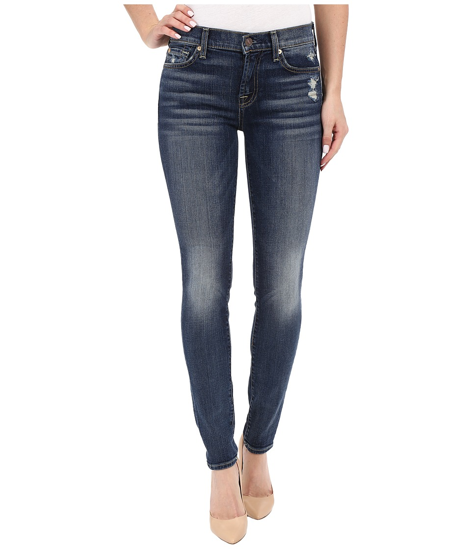 7 For All Mankind - The Skinny with Contrast Squiggle and Distress in Crete Island (Crete Island) Women's Jeans