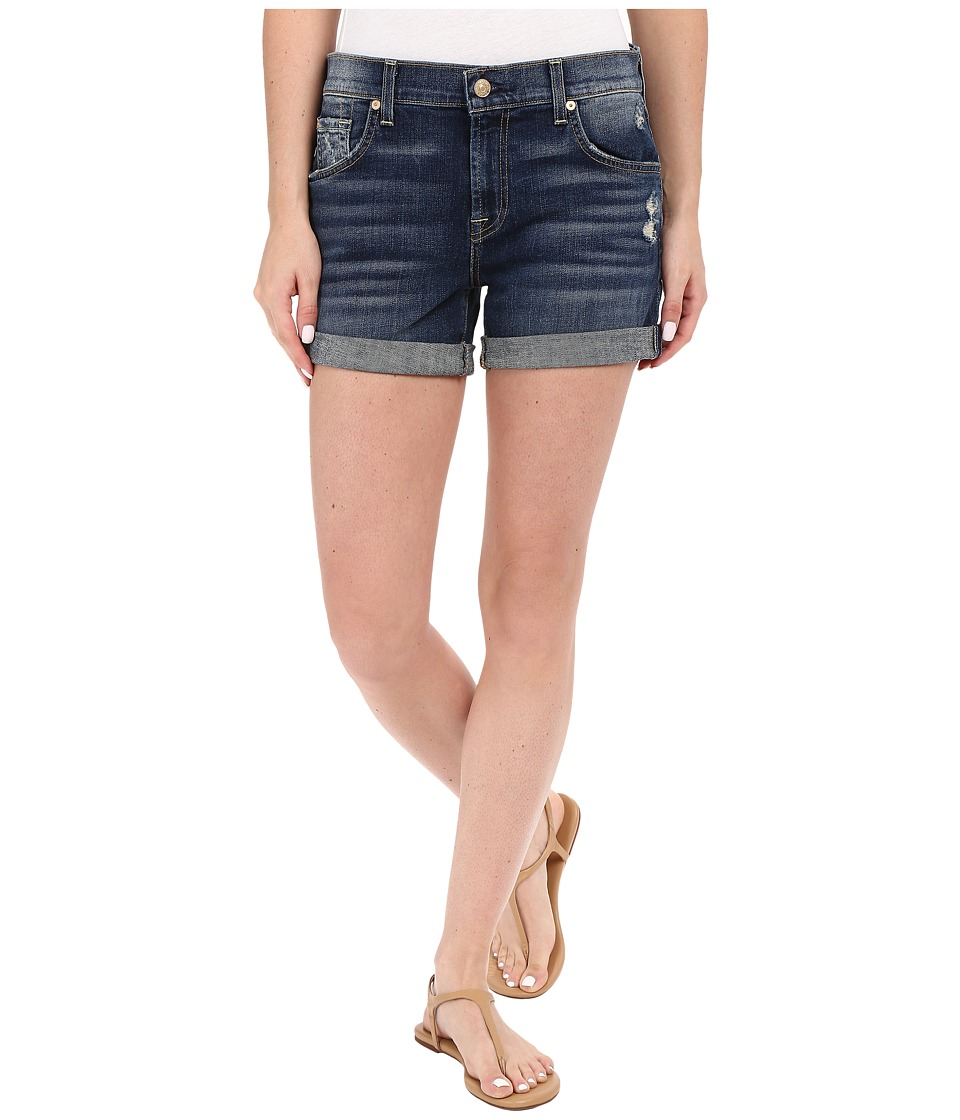 7 For All Mankind - Relaxed Mid Roll Up Shorts with Distress in Crete Island (Crete Island) Women's Jeans