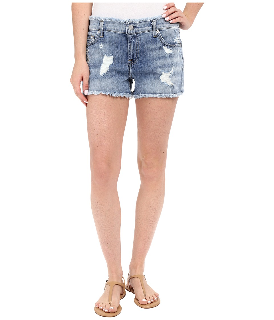 7 For All Mankind - Raw Edge WB Cut Off Shorts with Destroy in Santorini Light Aqua (Santorini Light Aqua 3) Women's Jeans