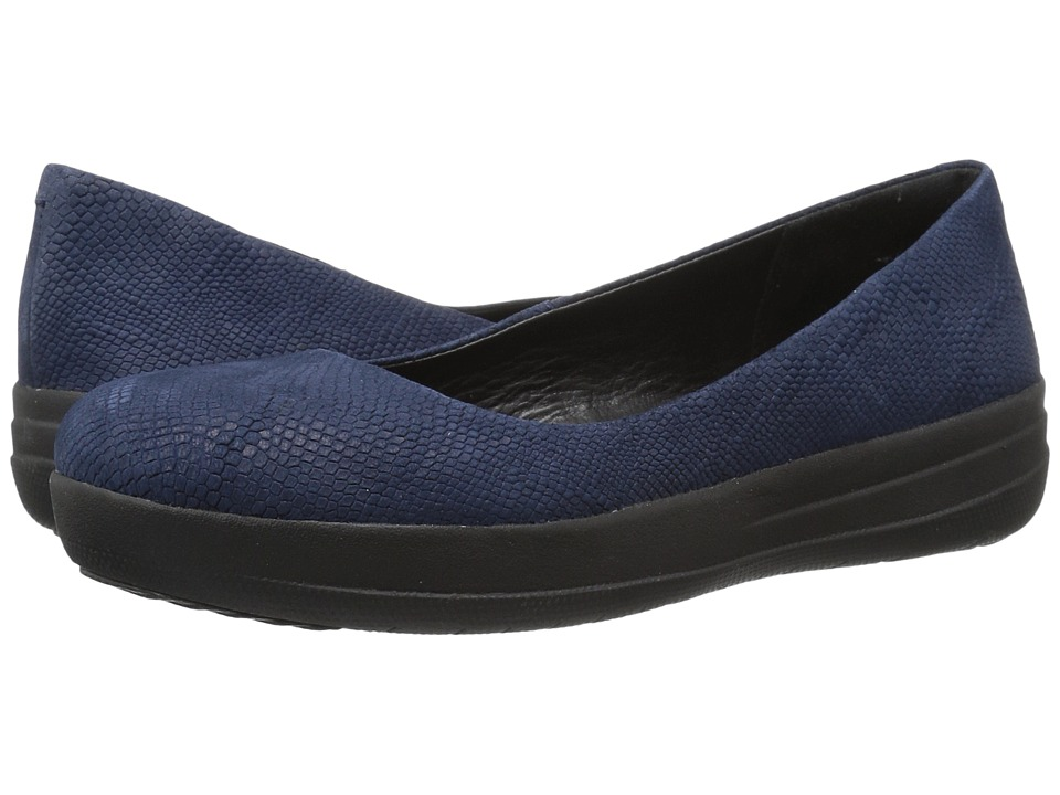 FitFlop - Sporty Ballerina (Midnight Navy Snake Embossed) Women's Sandals