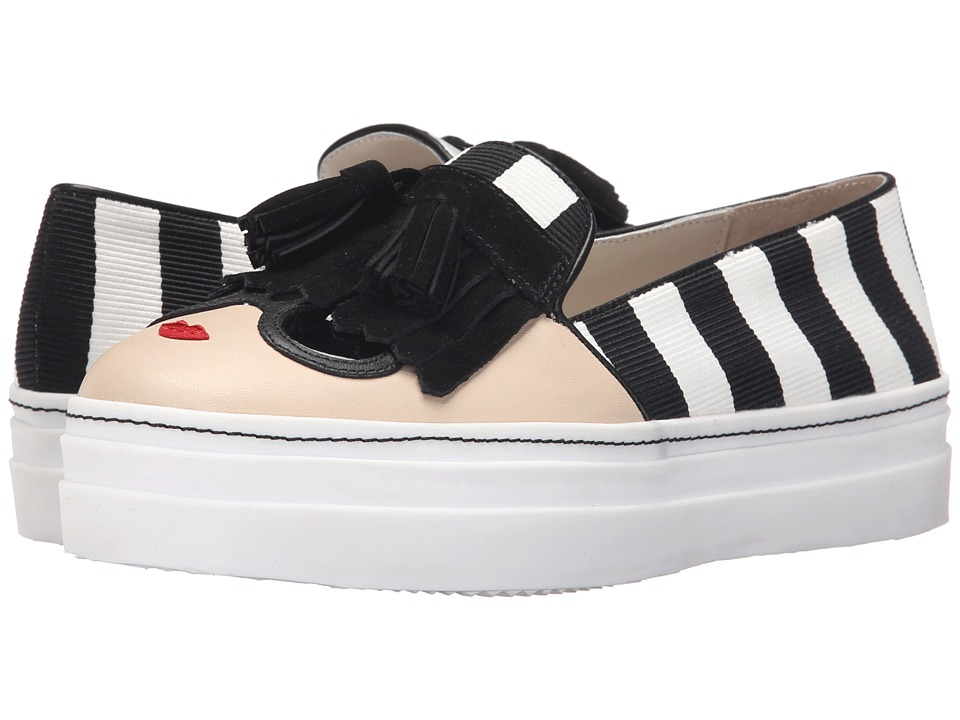 Alice + Olivia - Stace Face Sneaker (Black/White Striped Grosgrain/Stace Face) Women's Slip on Shoes