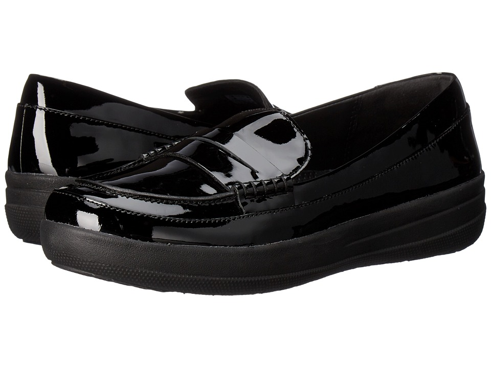 FitFlop - Sporty Leather Penny Loafers (Black) Women's Slip-on Dress Shoes
