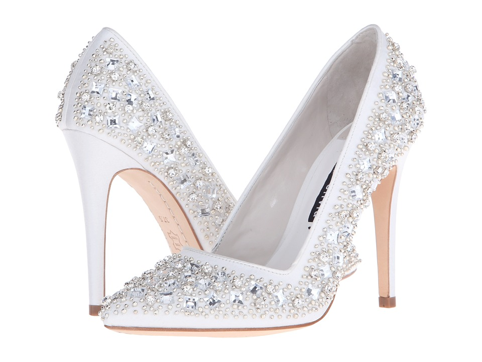Alice + Olivia - Dina Three (Clear Crystal Cluster/Ivory Satin) High Heels
