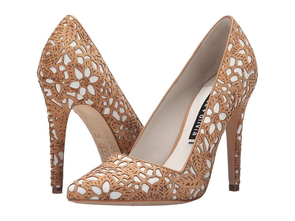 Alice + Olivia - Dina Three (Natural Laser Cut Cork/Ivory Canvas) High Heels