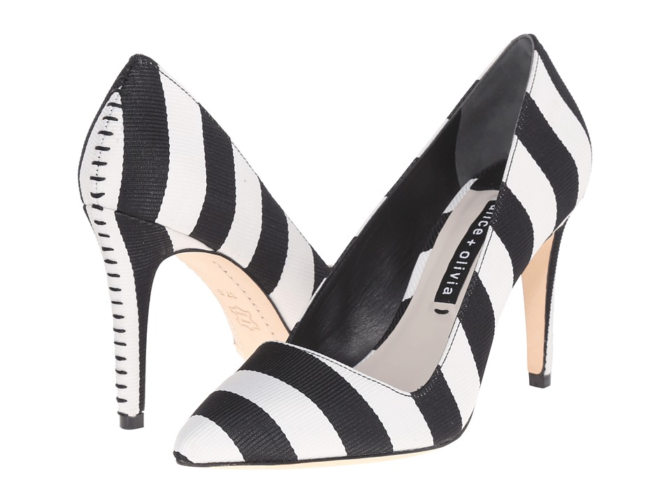 Alice + Olivia - Dina 95 (Black/White Stripe Grosgrain) Women's Shoes