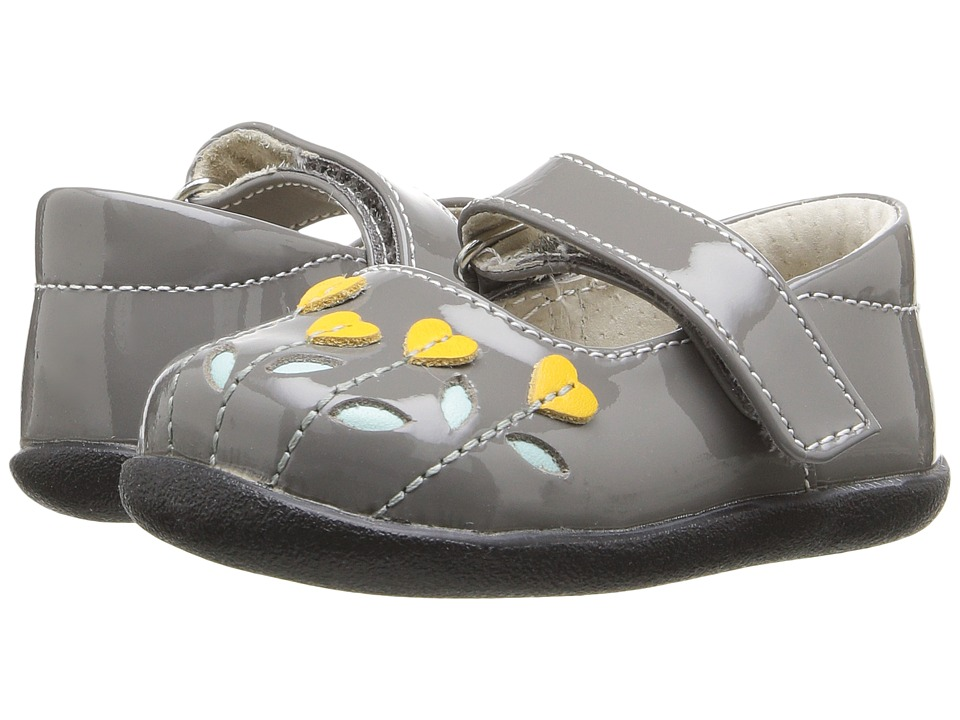 See Kai Run Kids - Tricia (Infant/Toddler) (Gray Patent/Yellow) Girl's Shoes