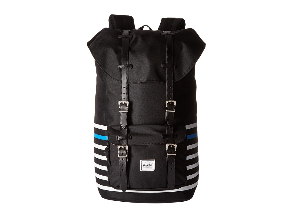 Herschel Supply Co. - Little America (Black Offset Stripe/Black Veggie Tan Leather) Backpack Bags