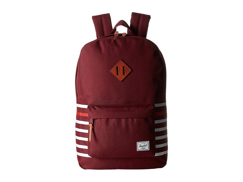 Herschel Supply Co. - Heritage (Windsor Wine Offset Stripe/Veggie Tan Leather) Backpack Bags