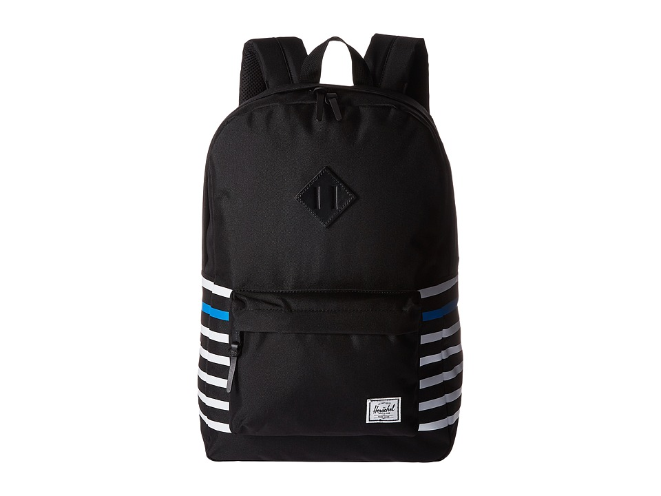 Herschel Supply Co. - Heritage (Black Offset Stripe/Black Veggie Tan Leather) Backpack Bags