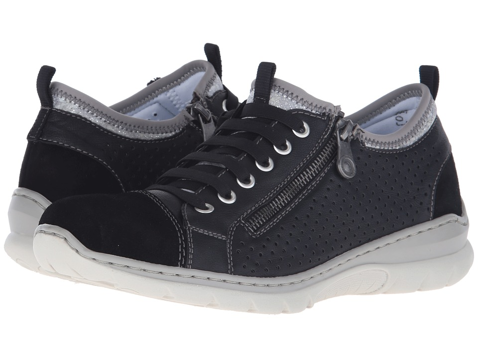 Rieker - L3277 Nikita 77 (Black/Black/Silver Flow) Women's Shoes