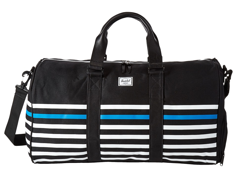 Herschel Supply Co. - Novel (Black Offset Stripe/Black Veggie Tan Leather) Duffel Bags