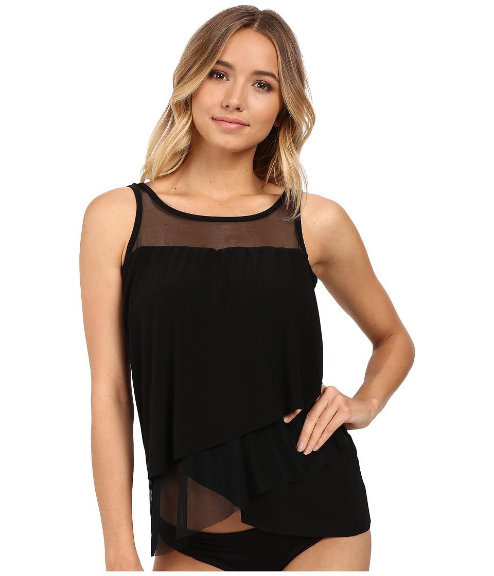 Miraclesuit - Solid Separates Mirage Tankini Top (Black) Women's Swimwear