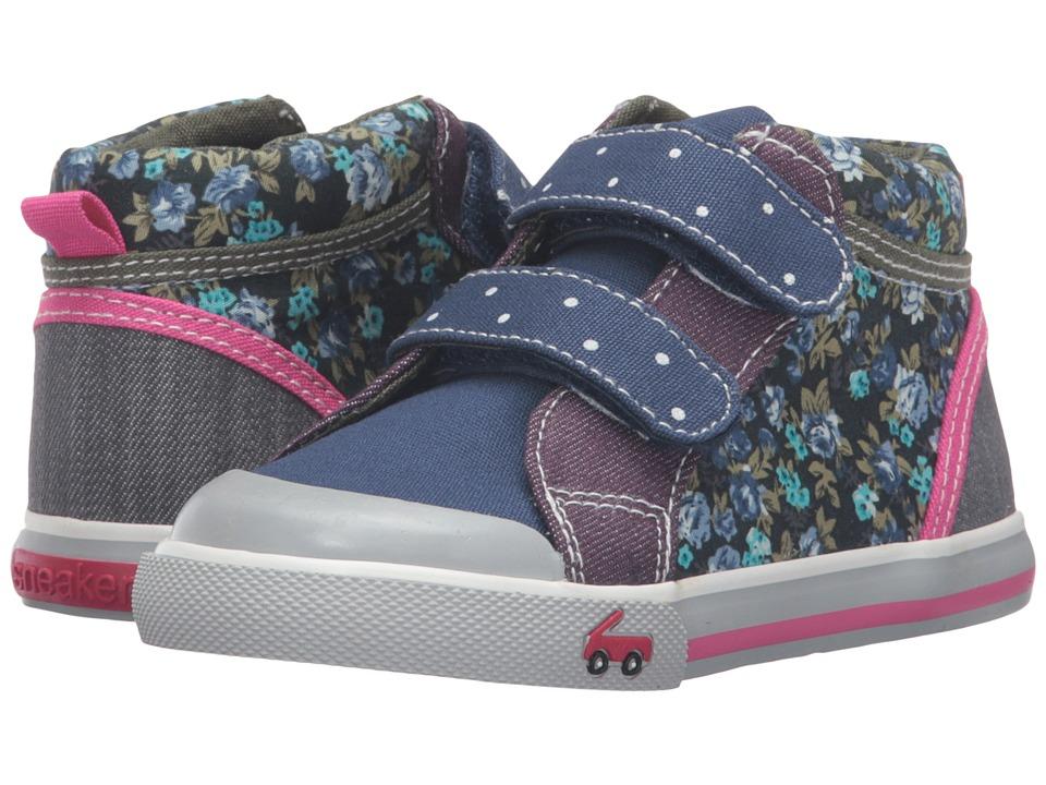 See Kai Run Kids - Kya (Toddler) (Navy/Purple) Girl's Shoes