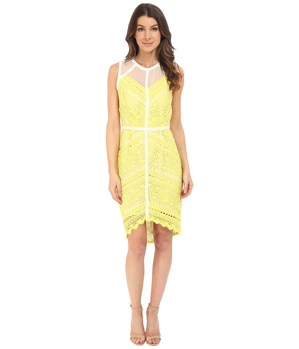 Adelyn Rae - Lace Fitted High-Low Dress (Lemon) Women's Dress
