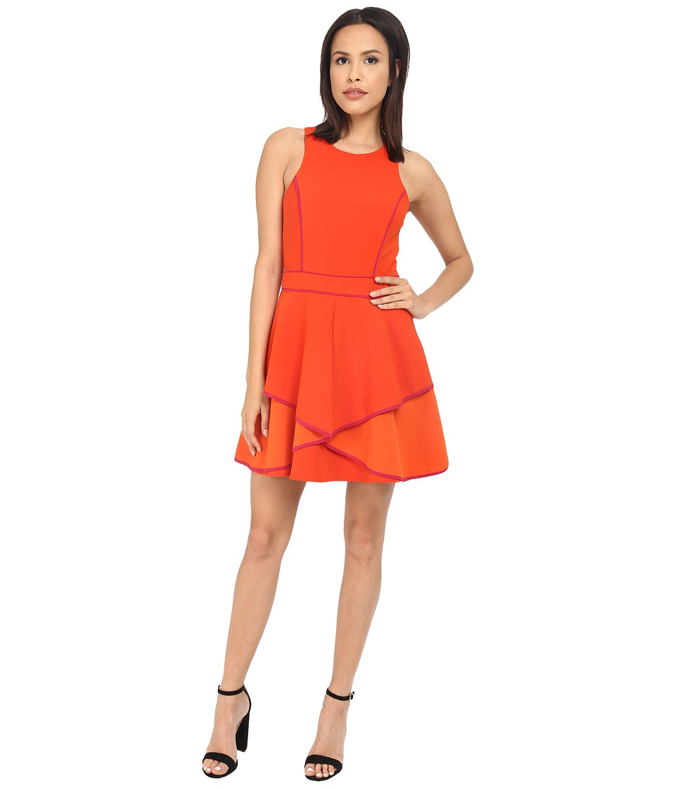 Adelyn Rae - Fit and Flare Dress with Contrast Piping (Orange/Pink) Women's Dress