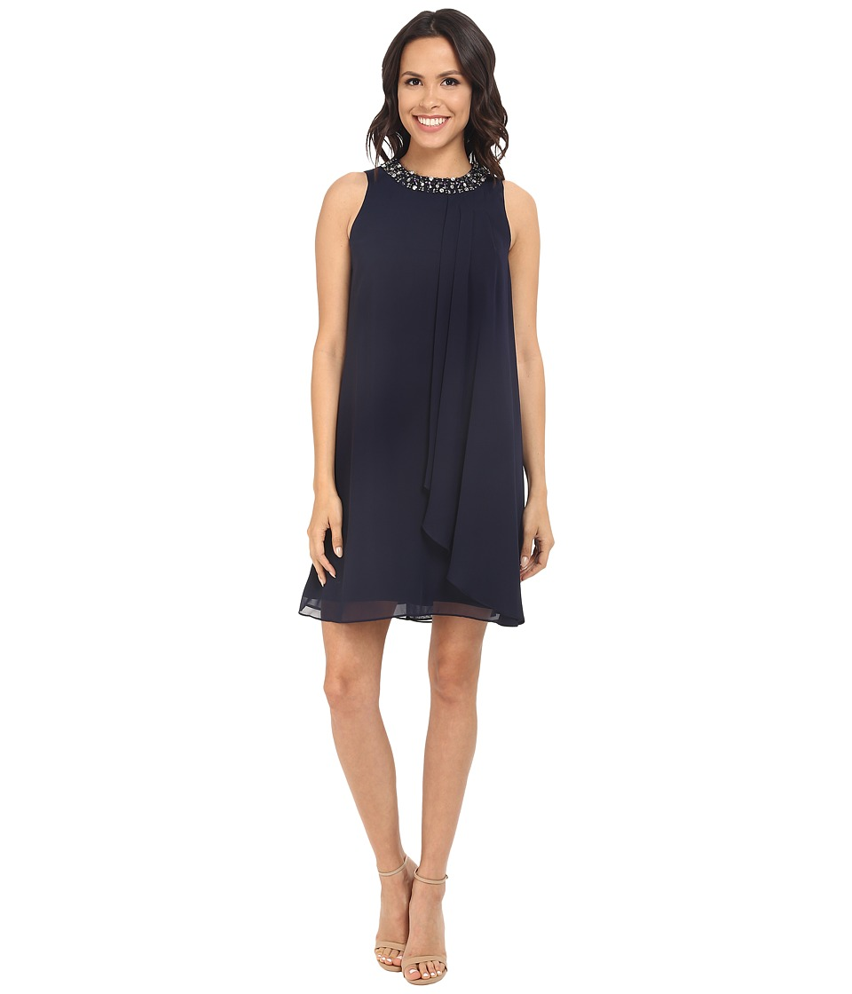 Vince Camuto - Short Chiffon Dress w/ Single Side Pleated Piece (Navy) Women's Dress