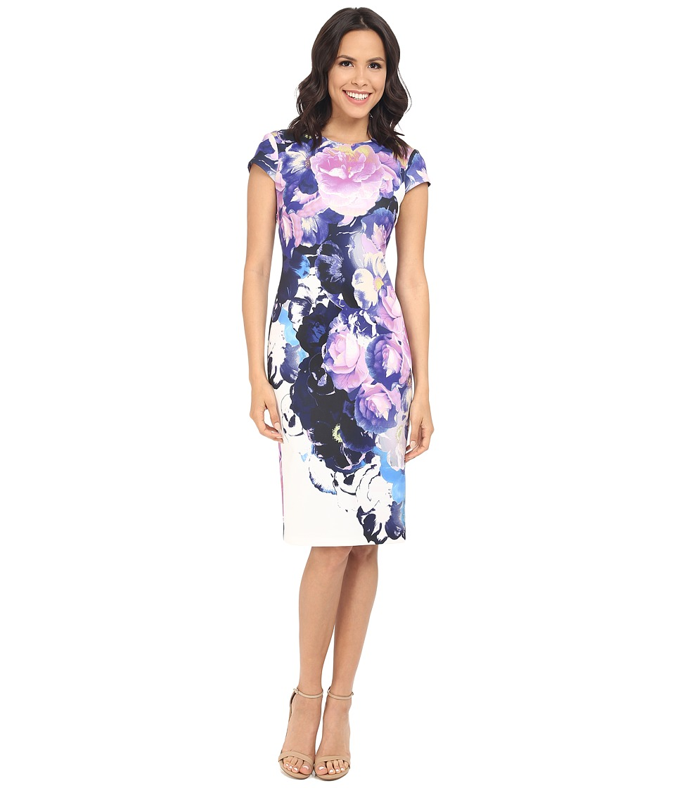 Vince Camuto - Printed Scuba Cap Sleeve Midi Dress (Purple) Women's Dress