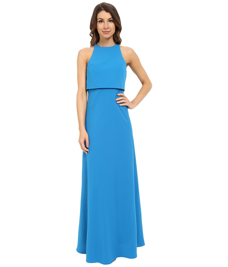 JILL JILL STUART Sleeveless Popover Two-Ply Crepe Gown (Pacific) Women
