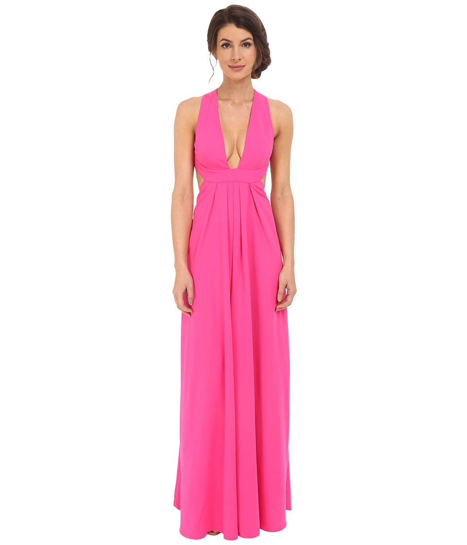 JILL JILL STUART - Deep V-Side Cut Out 2-Ply Crepe Gown (Gossip Pink) Women's Dress
