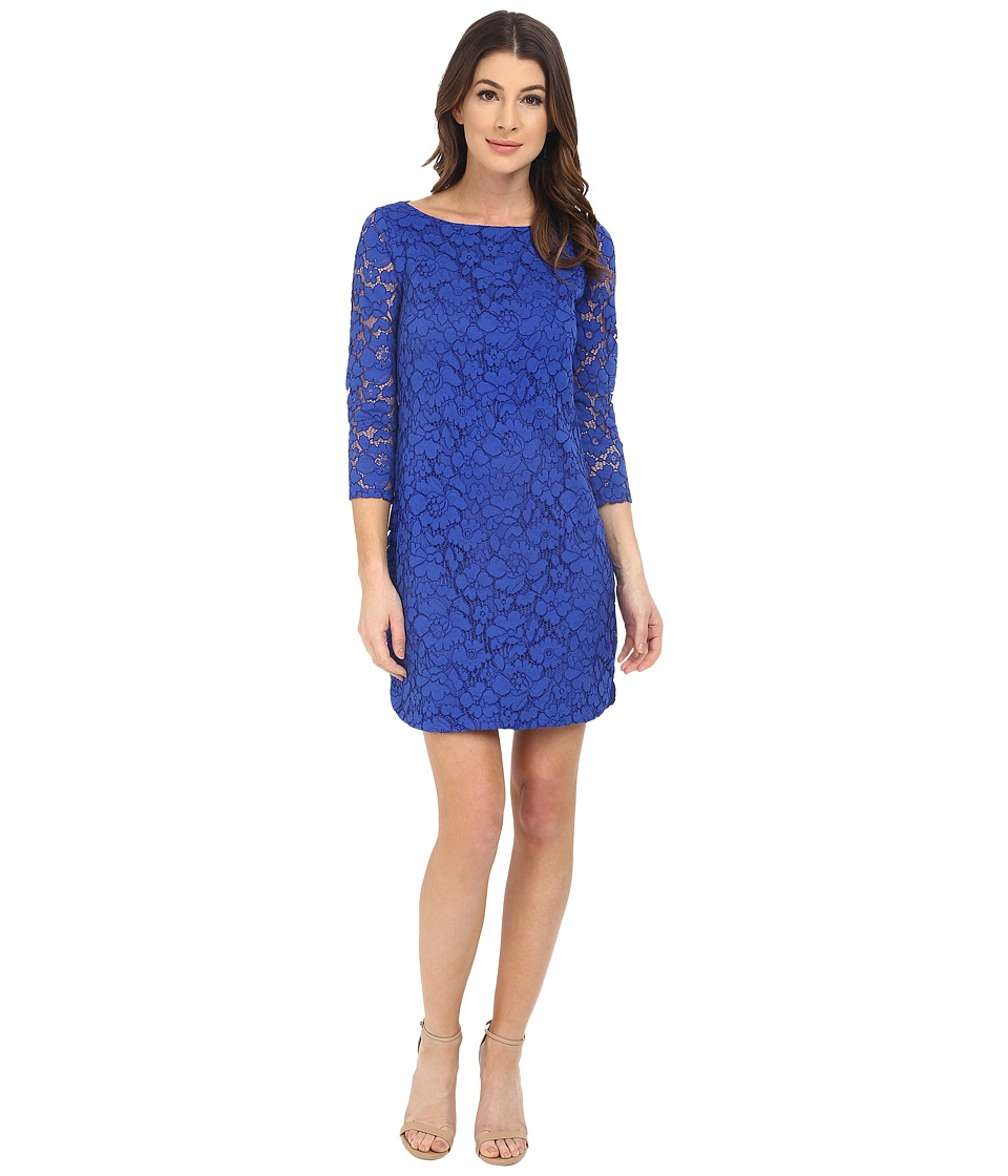 Vince Camuto - 3/4 Length Shift Dress w/ Shirt Tail Hem (Cobalt) Women's Dress