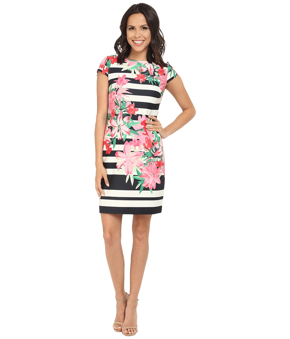 Vince Camuto - Printed Scuba Cap Sleeve Shift Dress (Black/White) Women's Dress