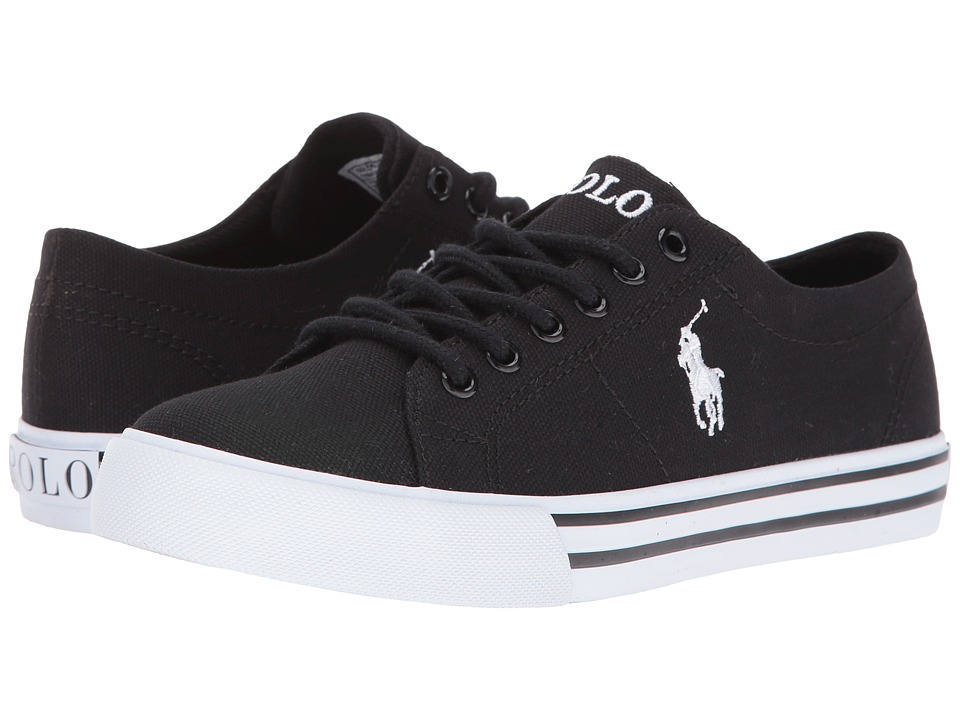 Polo Ralph Lauren Kids - Scholar (Big Kid) (Black Canvas/White Pony Player) Kid's Shoes