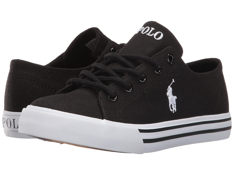 Polo Ralph Lauren Kids - Scholar (Little Kid) (Black Canvas/White Pony Player) Kid's Shoes
