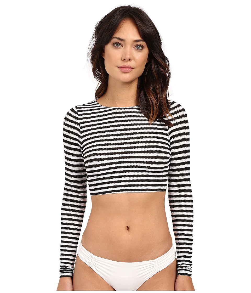 Vitamin A Swimwear - Cannes Cropped Rashguard (Riviera Stripe) Women's Swimwear