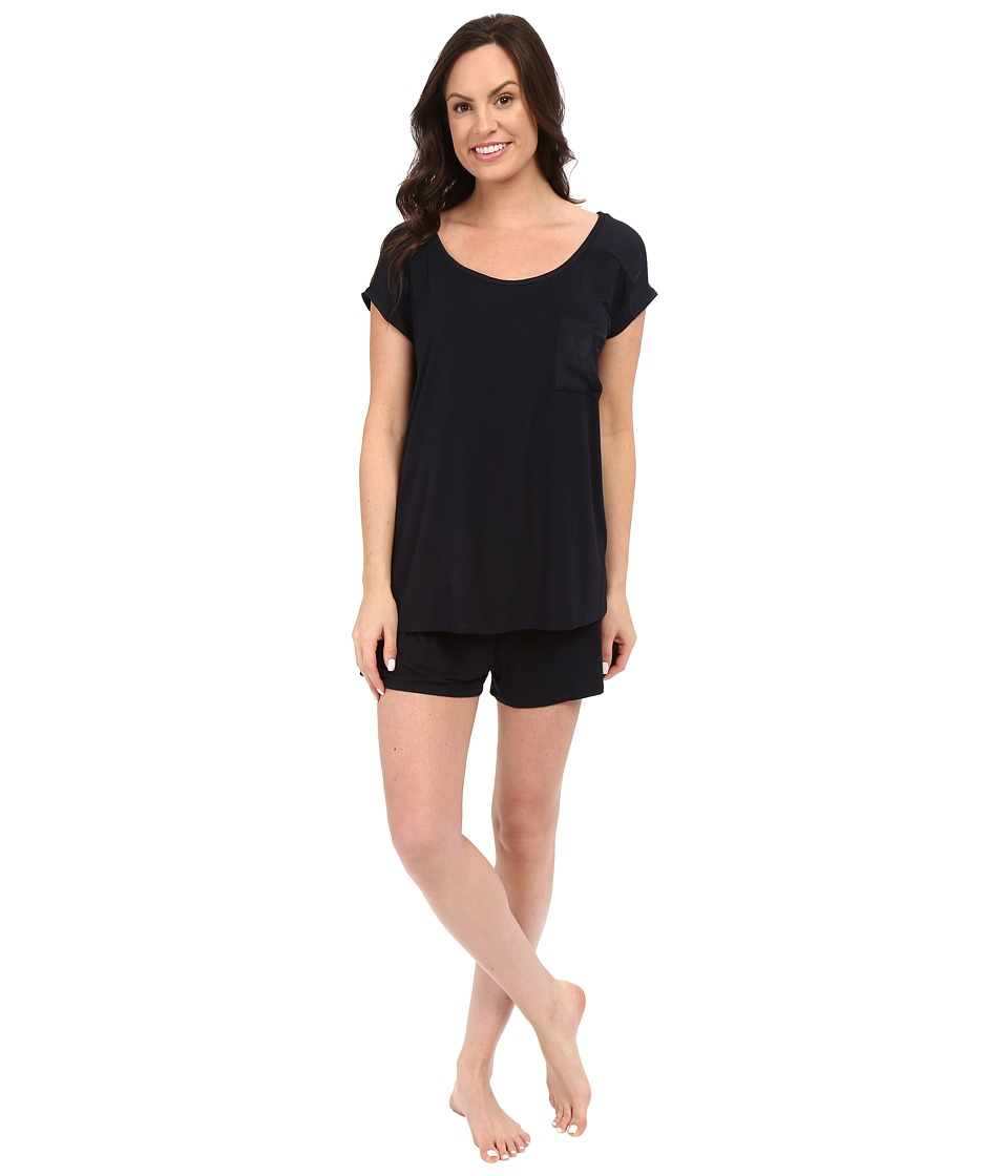 Midnight by Carole Hochman - Shorty PJ with Matte Satin (Midnight) Women