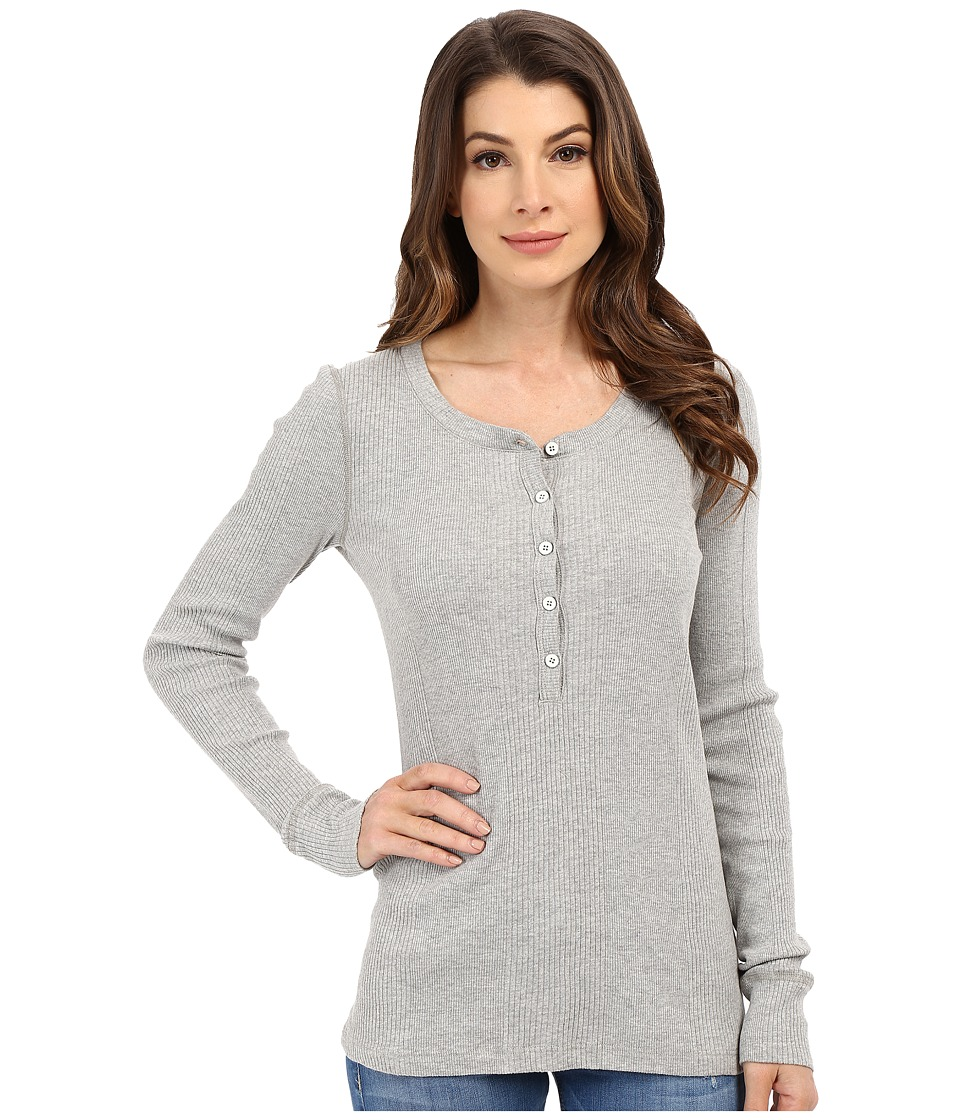 Three Dots - Sofia Long Sleeve Rib Henley (Granite) Women's Clothing