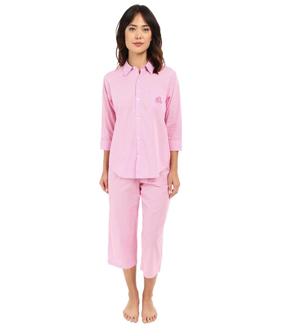 LAUREN Ralph Lauren - Cotton Lawn Capri PJ (Gingham Pink/White) Women's Pajama Sets